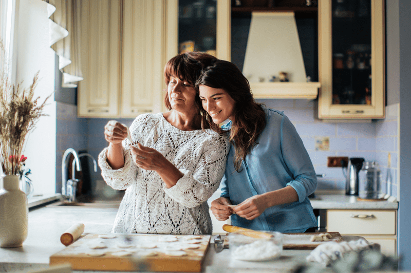 mother and daughter preparing pastry food in the kitchen